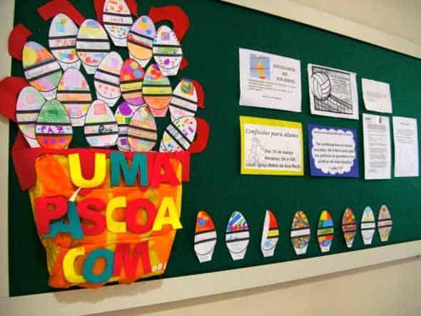 Mural escolar para pascoa