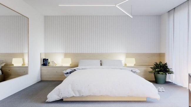 Panorama de quarto de casal com luminárias