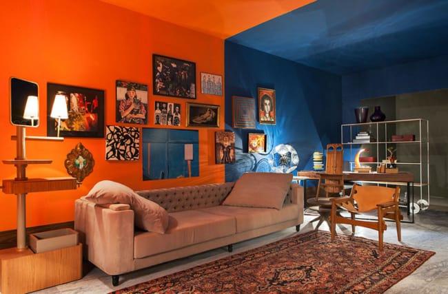 Sala azul e laranja super criativa