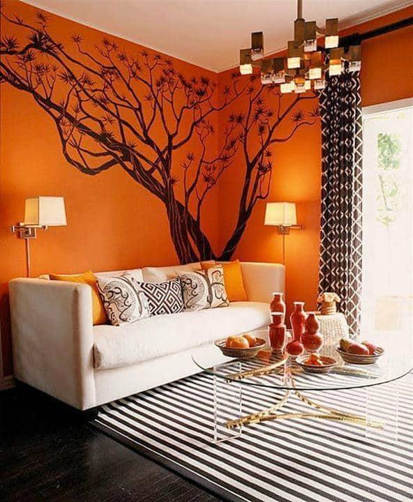 Sala de estar na cor laranja