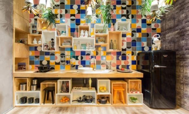 area gourmet pequena e simples decorada