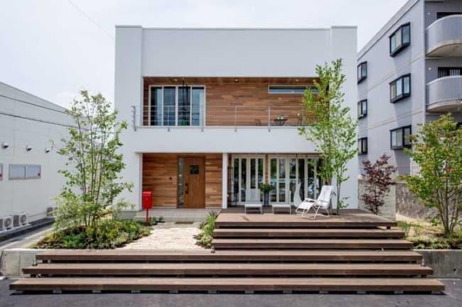 casa moderna e fachada com platibanda