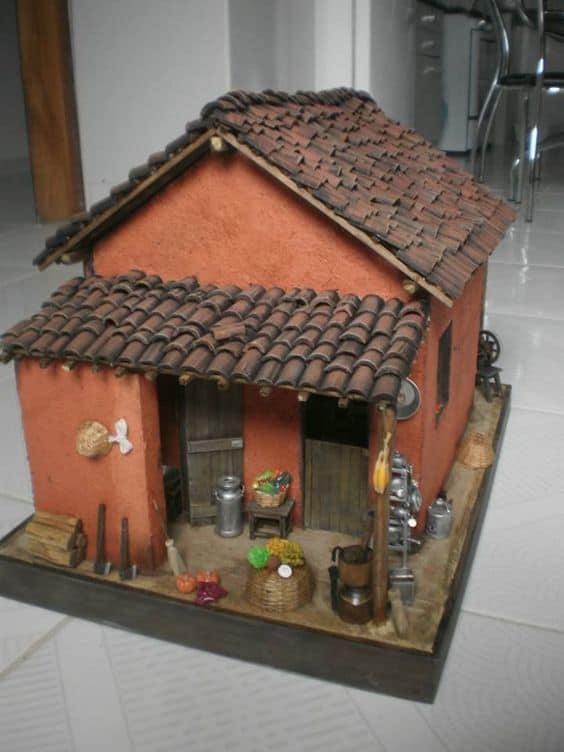 maquete colorida de casas de papelão