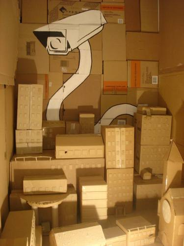 maquete de edificios de papelão