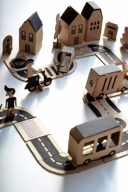 maquete de papelão de cidade