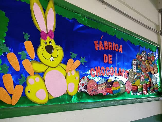 mural grande escolar para pascoa