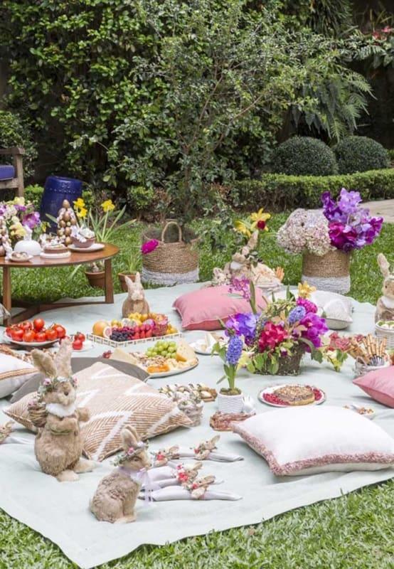 picnic de pascoa no jardim