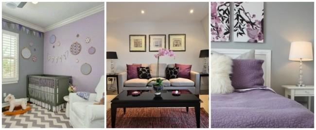 decoração em cinza e lilás