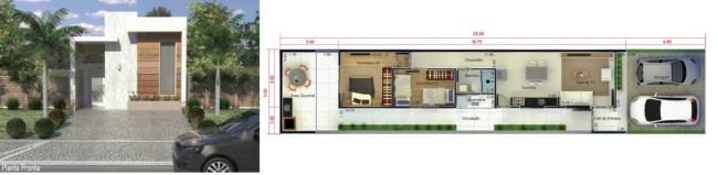 planta de casa de 2 dormitórios com 70 m²