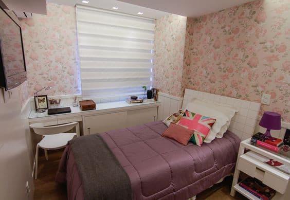 decoração quarto juvenil pequeno e feminino