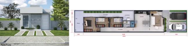 planta de casa pequena com 3 dormitórios