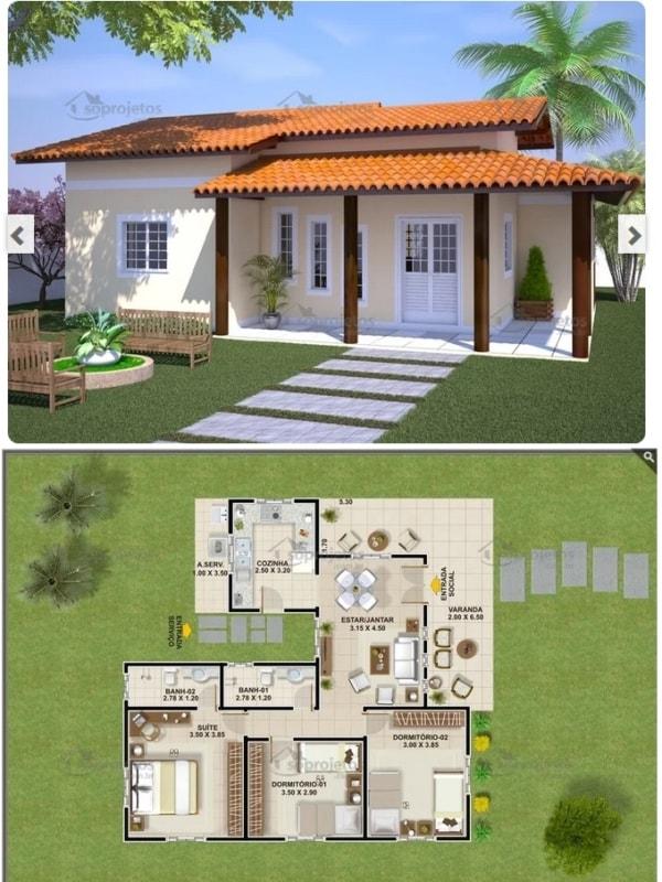 planta de casa com 3 dormitórios e 100 m²