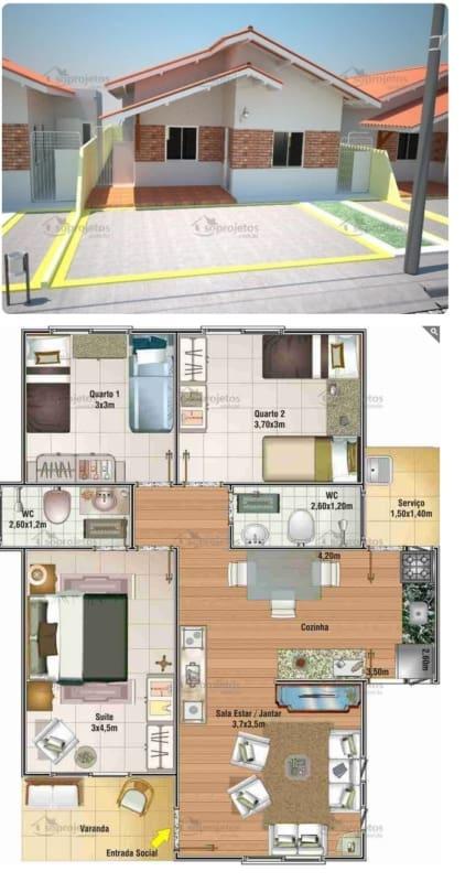planta de casa com suíte de 87 m²