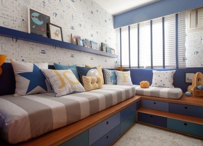 quarto infantil planejado com camas modernas e com gavetas