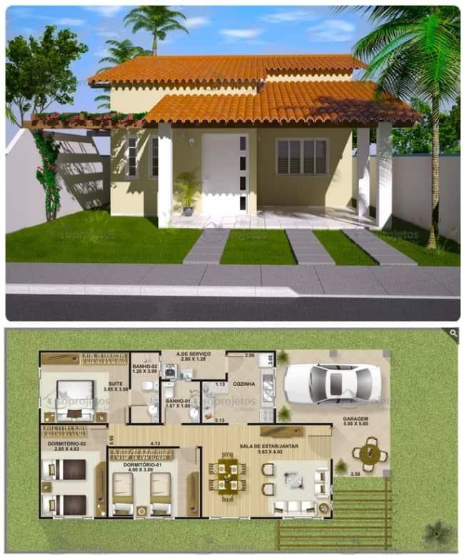 planta de casa com 3 dormitórios e 111 m²