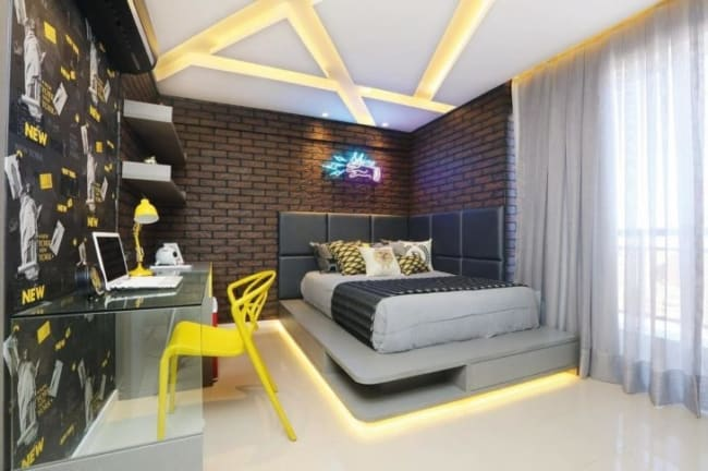 cama moderna cinza com gaveta