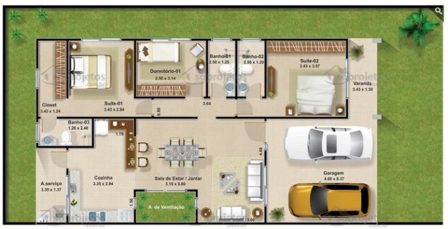planta de casa com 127 m² e garagem