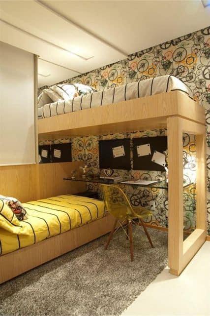 quarto planejado com cama suspensa