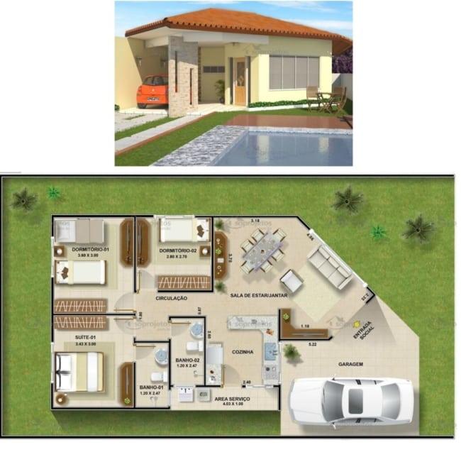 casa de 3 quartos com suíte e 97 m²