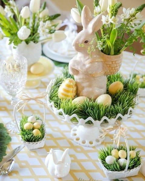 mesa de páscoa decorada com coelho