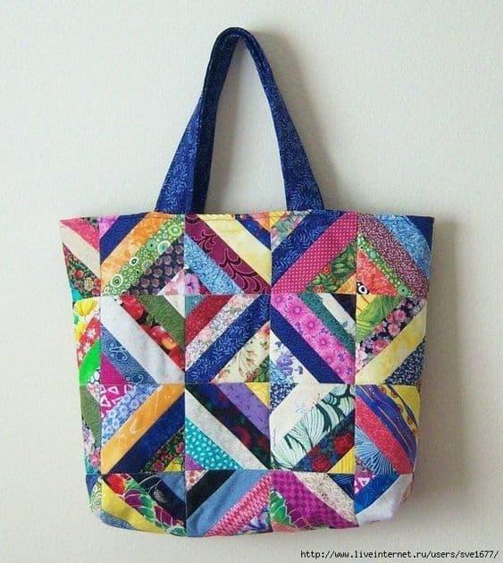 bolsa de retalhos de tecido