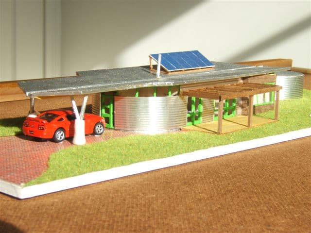 maquete de casa moderna e sustentável