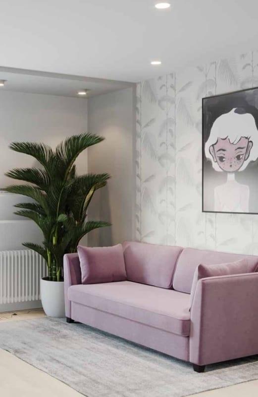 decoração de sala com sofá lilás