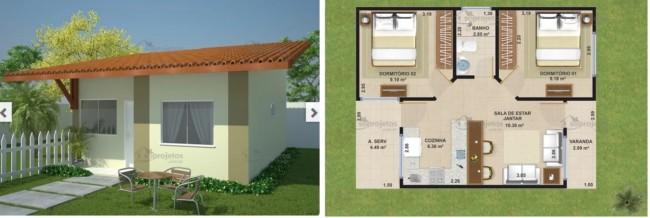 planta de casa popular com 46 m² para financiamento da caixa econômica federal