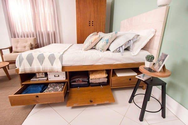 cama de casal em madeira com gavetas