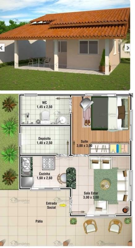 planta de casa popular com 1 dormitório e 49 m²