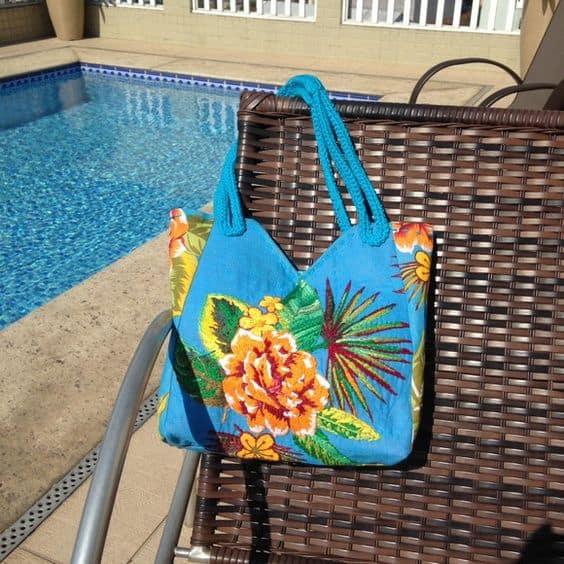 bolsa de praia de chita
