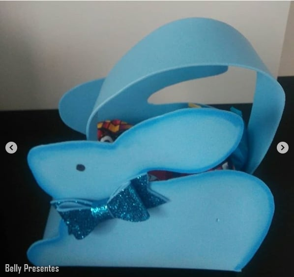 cesta de EVA em formato de coelho de páscoa