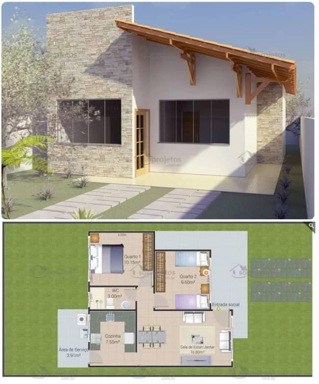 planta de casa simples com 2 dormitórios e 64 m²