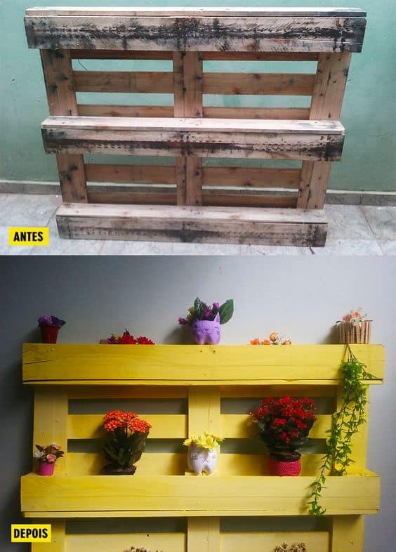 antes e depois de pallet decorado para floreira