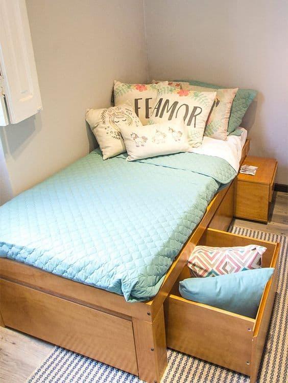 cama de solteiro com gavetões