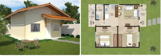 casa popular com 2 dormitórios e 45 m²