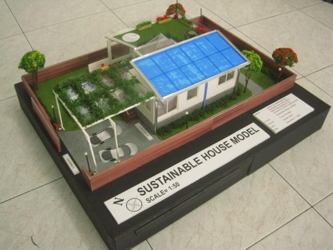 maquete de casa simples e sustentável