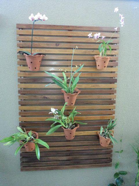 painel de madeira com vasos de orquídeas