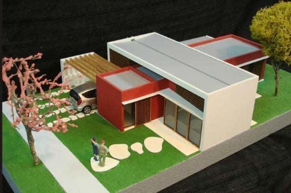 maquete de casa com telhado embutido