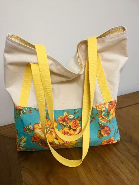 bolsa feminina de tecido de algodão