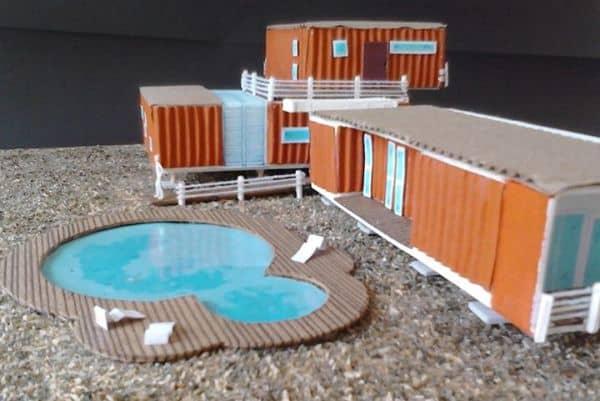 maquete de casa moderna com piscina
