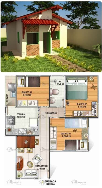 planta de casa popular e barata com 52 m²