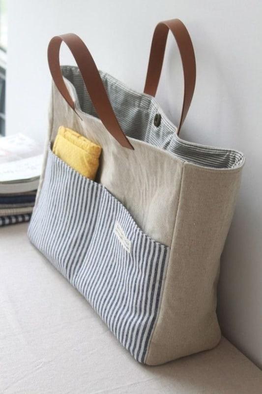 bolsa sacola com bolsos frontais