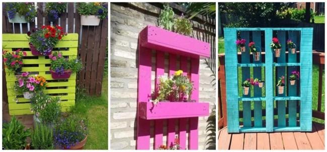 floreiras coloridas de paletes