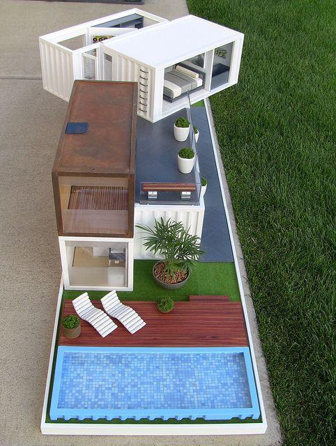 maquete de casa container com piscina
