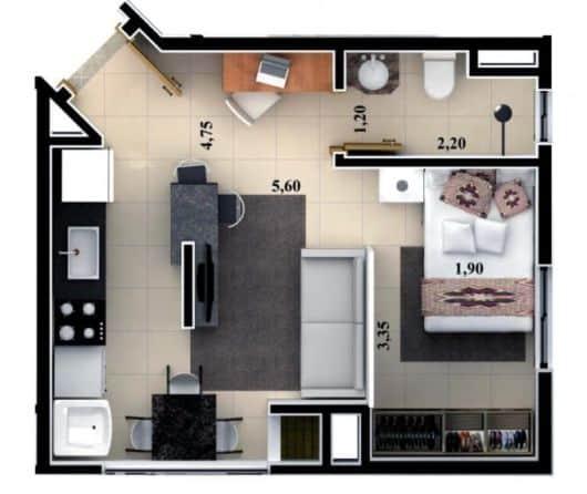 planta de casa popular pequena e com 1 quarto