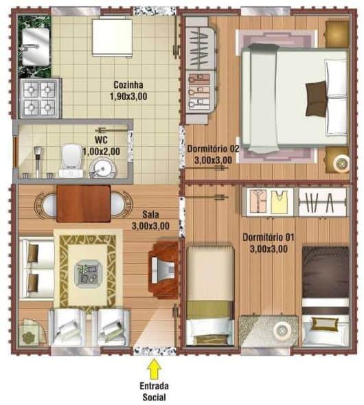 casa popular com 2 dormitórios e 35 m²