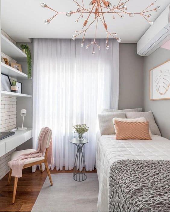 decoração quarto pequeno e moderno