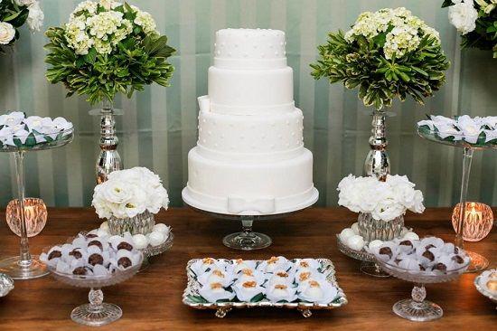 mesa do bolo decorada para festa em casa