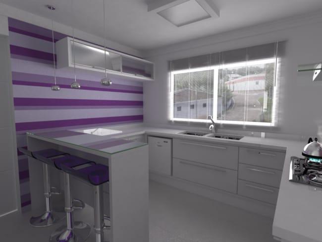 cozinha decorada em lilás e roxo